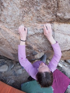 matching on the two crimps before the big reach. the problem sit starts down low on an obvious sidepull feature in a shallow corner