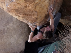 about to reach the thin crimp prior to the crux sequence.