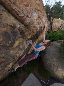 easily doing the crux start moves... she then pops to the sidepull