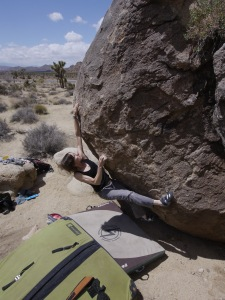 and here is the same problem using the right hand on the high start hold. this version makes it nearly impossible to reach out to the far right jugs on the easy v0 in the gB.