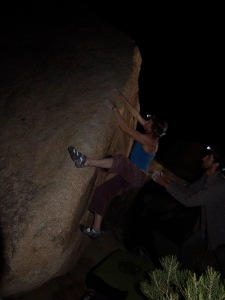 jill trying the lower moves on the Jacobin, v4 or 5