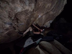 reach these two holds is the first crux