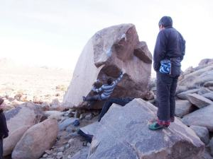 Richard Boyle doing the first move on the fa of Bodie in Cambodia, v5 or 6, Cambodia boulder.