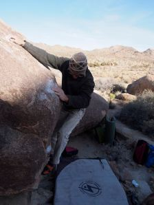 called Frozen Ground Bulge, v1, start at that chalked hold by my shin... really.