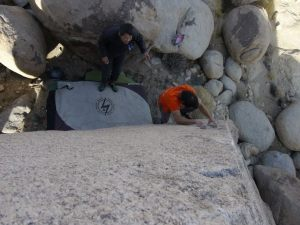 these are the start holds when starting on the far left. notice my left foot still on the small boulder below