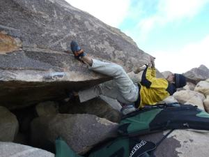 middle of crux... I used this line as a warmup for Le Sel de la Terre.