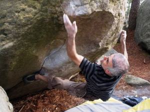 Indestructible, 7a+. Probably the crux off the poor heel hook.