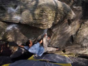 My sequence was a combination of reaching the hueco faster than Thierry, but using his finish sequence. No knee bars for me. :(