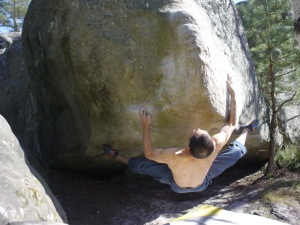 About to do the crux after bumping the right hand up and in...