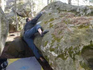This is the reach version. Jill had to use a micro foot hold below and inside my right heel to reach this high hold.