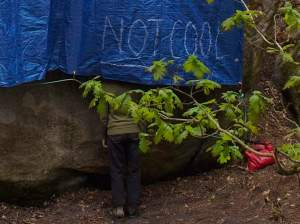 I personalized the blue tarp. Jill was checking out the holds.