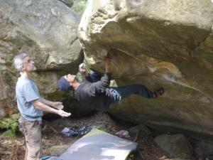 Little Cobra, 7a+. A punchy 7a+ even by a local bleausard's account. We were both rather mesmerized by my next hand hold... In Thierry's defense, my right hand is on a jug. Crux to come...