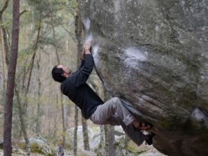 El Poussah. This ultra classic problem (stand) is usually performed with a toe or heal hook on the chalked sloper above my right foot.
