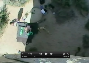 This is from my video Friction showing the boulder from above along with the fall zone fro the crux.