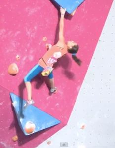 Brooke Raboutou trying the same move on one of her 3 attempts.