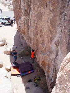 Start is reachy. Here John Weinberg is fully extended. Also, he starts on a lower right sloping crimp, but I couldn't reach it, instead opting for a higher undercling pinch.