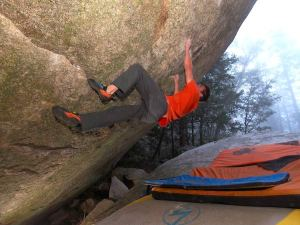 Matt Birch climbing the line Forms from a lower hold, adding two moves and making it infinitely more fun.