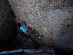 If you like back flags, this problem is your thing! Matt repeating crux 1 again for crux 2.