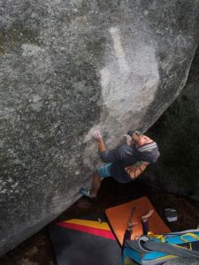Manny sussing the crux on Smack Down.