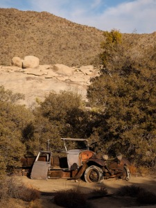 This is one of two rusting vehicles at the Wallstreet Mill area near Barker Dam.