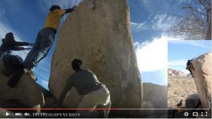 Just after this reach, the boulderer drops back to the resting position then continues to release and fall...