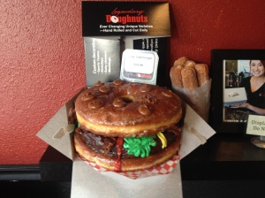 The mega doughnut shaped as a burger. It's really big!