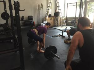 Rob learning to deadlift correctly under Josh's instruction and watchful eye